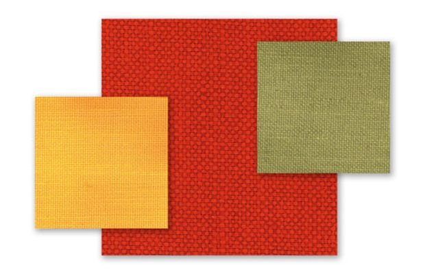 """""""Burlap"""" used today for walls should have a dense weave, like thse samples of linen unioin is moss, red, and yellow, from Historic Style."""