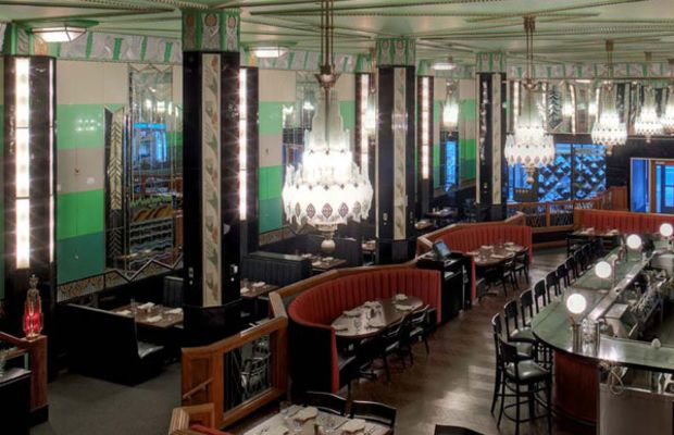 The interior of the 1929 Forum Cafeteria was removed to City Center in downtown Minneapolis in the 1970s, and today operates as the Forum Restaurant. Courtesy of Shea, Inc. & Preservation Alliance