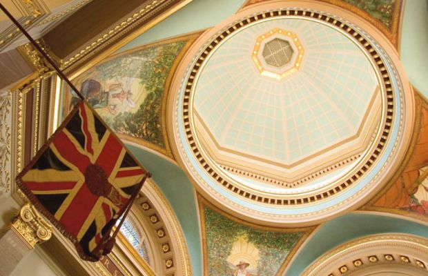 Beautifully paint-decorated Parliament buildings are open to the public. Photo by William Wright.