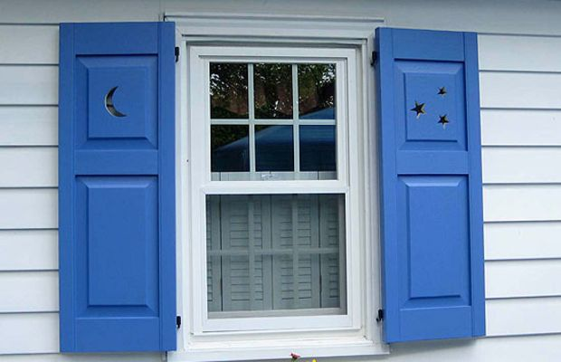Harking back to Europe and American colonial days, shutters with decorative cut-outs were popular on Dutch Colonials and cottages of the Arts & Crafts period. Photo courtesy of Shuttercraft.
