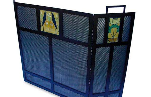 Motawi tiles highlight this steel firescreen from Oak Park Home & Hardware.