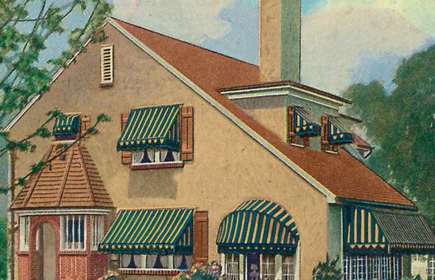 Standard, dome, and casement awnings are represented on this 1920s house.
