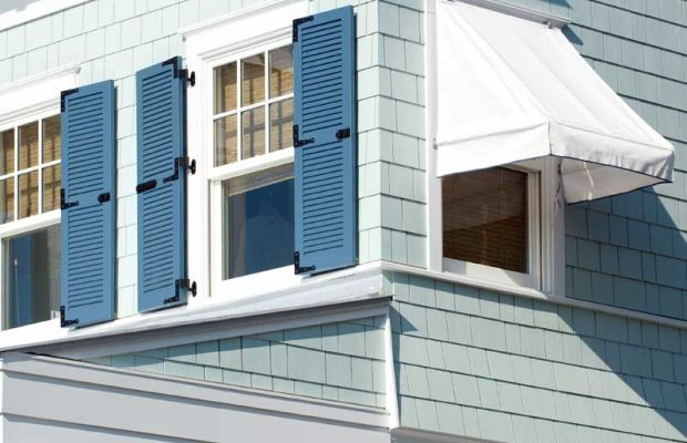 Sunbrella is making modern denim awning fabrics in contemporary flecked solids and nostalgic stripes.