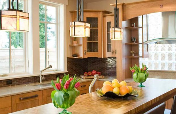 Kitchen cabinets are green-certified Pennsylvania cherry wood.