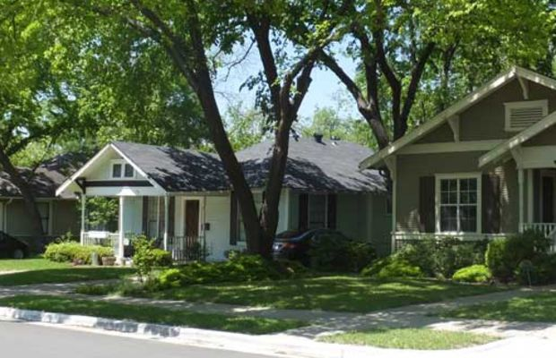 Bungalows make a tidy streetscape in the Dallas suburb of Vickery Place.