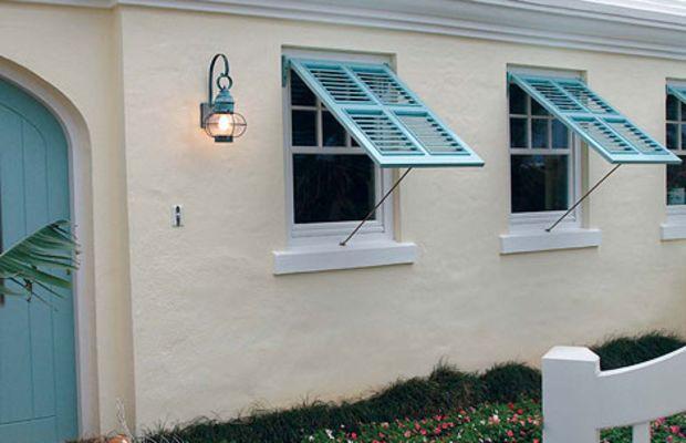 "Making a comeback in warm locales, Bermuda shutters open like an awning window. These are from Custom Shutter's ""Bahama"" line: www.customshuttercompany.com"