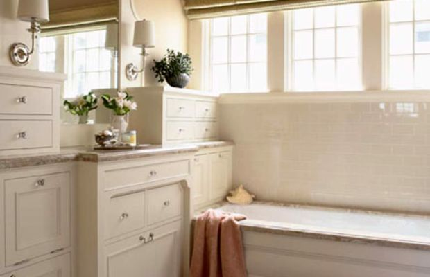 The rest of the bathroom, too, has a built-in, furnished look. Photo by Susan Gilmore.