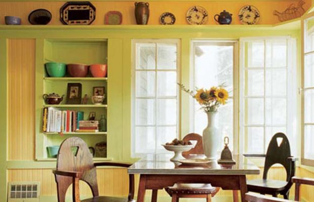 Uninsulated summer houses of the early 20th century were often paneled in nothing but beadboard. If the original patina is badly damaged or has been painted over, consider a colorful paint scheme. Photo by Gross & Daley.