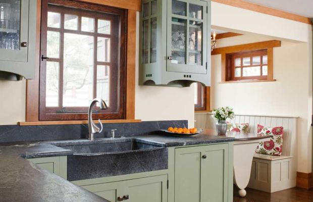 In a newly built house near New Hope, Pennsylvania, for example, designer Bela Rossman of Polo Design Build chose the gray-green stone to complement cabinets built by Crown Point Cabinetry.