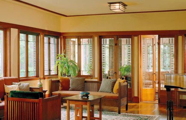Casement windows with leaded art glass in a 1914 Prairie-style; curtains are unnecessary. Photo: Robert Shimer