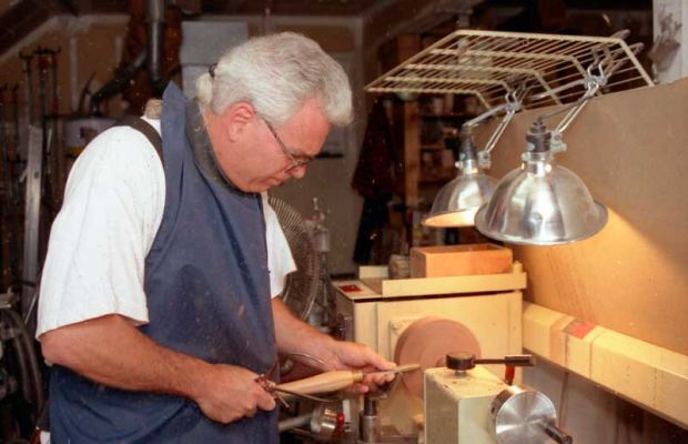 The artist at work in his studio.