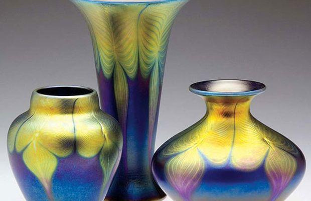 A trio of iridescent art-glass vases from Lundberg Studios.