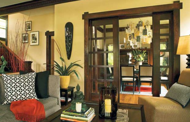 Pocket doors can be a style statement—or an efficient use of space. These quintessential Arts & Crafts doors are made of Douglas fir. Photo by Blackstone Edge Studios