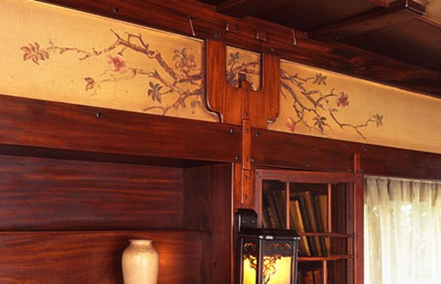 In the Thorsen house by Greene & Greene, the parlor frieze features hand-painting around the wood strapping that wraps to the ceiling, which is lined with canvas.