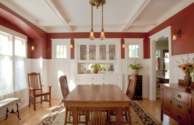 This built-in buffet was the only original element left in a room restored by the firm Tim Andersen. Architect.