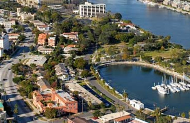 Aerial view of the Davis Islands, a Tampa neighborhood with Mediterranean houses, near downtown.