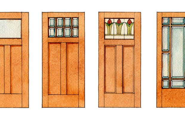 From plain to fancy, doors of the era (these drawings were adapted from old builders' catalogs) begin with the basic two-panel door with the distinctive T intersection and a single pane of glass at the top. Most doors then and now can be dressed up with divided lights. Accent the transom with art glass, or fill most of the door frame with beveled glass in a typical Prairie Style configuration. Illustrations by Robert Leanna