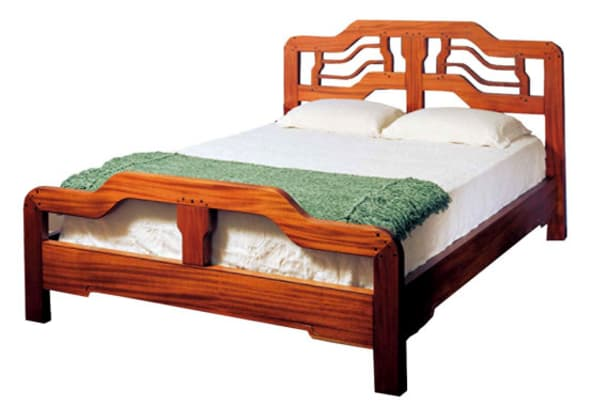 """Wells Bed"" Asian cloudlift design bed in mahogany and ebony, Thomas Stangeland."