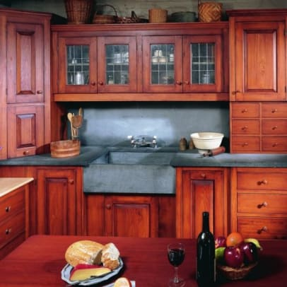 phoca_thumb_l_K-20..Stained, hand-planed pine kitchen cabinetry