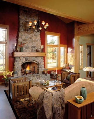 Fieldstone in a fireplace inspired by California architects Greene and Greene.