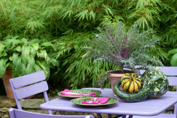 Ornamental kale and gourds serve as centerpieces on the dining table.