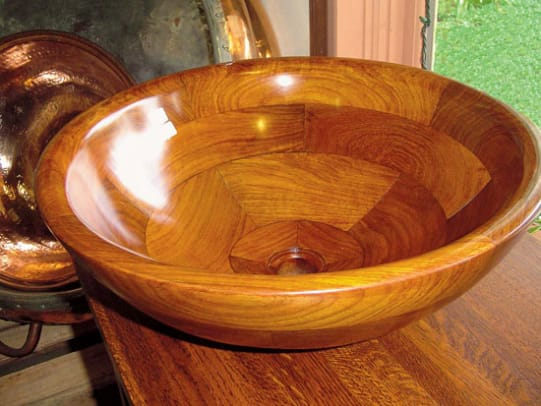 A specialty basin—in wood—from Bathroom Machineries.
