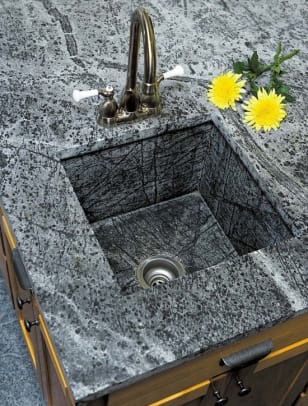 Integrated bar sink in 'Ice Flower' soapstone, by Green Mountain Soapstone.