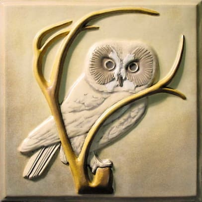 "Lewellen's nature-inspired deco tiles include 8"" relief 'Saw-Whet Owl'"