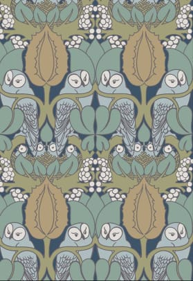 Whoot' is Trustworth Studios' wallpaper of owls and owlets, taken from a Voysey pattern.