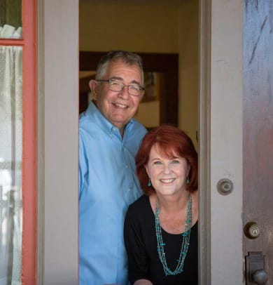 Tom and Phyllis Shess restored the bungalow, once painted yellow and white.