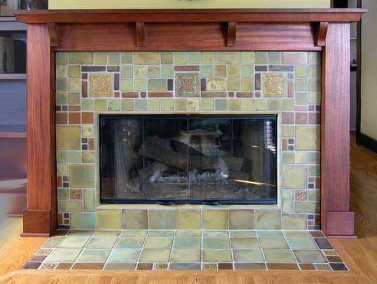 A geometric fireplace by Pasadena Craftsman Tile.