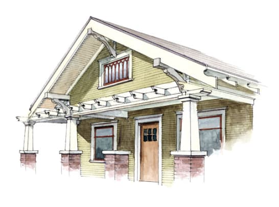 Bungalow gables design for the arts crafts house for Craftsman gable brackets