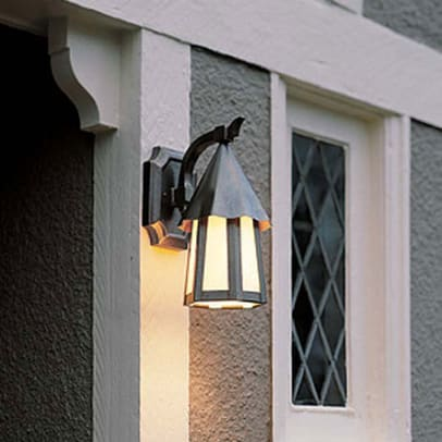 Rejuvenation's Wilson bracket lantern has a medieval feel perfect with English Arts & Crafts.