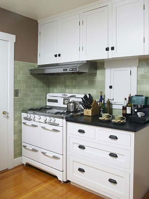 A refurbished vintage stove adds immeasurably to this Pasadena bungalow kitchen. Photo by Jaimee Itagaki.