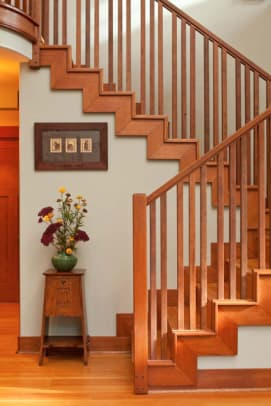 The staircase was reconstructed in Douglas fir.