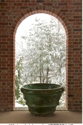 Emptied and protected, a glazed container lends scale to the arch-framed view at Greenwood Gardens. Photo by Ken Druse.