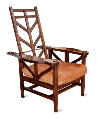 Joseph McHugh's Morris chair has an English-leaning aesthetic.