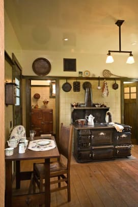 The kitchen is fitted with a period Garland stove.