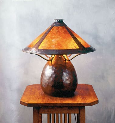 "Hammered copper ""Warty"" lamp by Michael Ashford, Evergreen Studios."