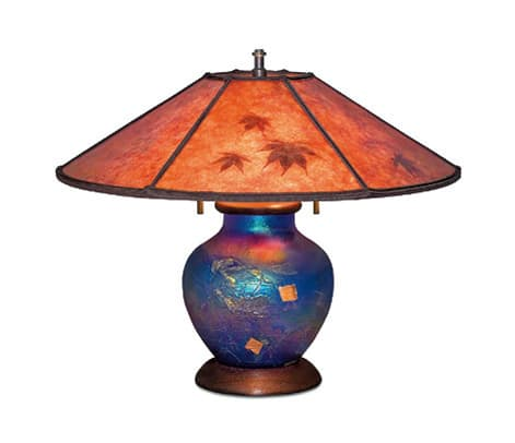 """Elements"" art lamp with maple leaves, by William Morris Studio."