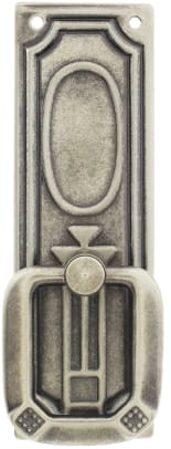 Designer-inspired bail pulls include a Prairie-influenced pull with a stylized flower, from House of Antique Hardware.