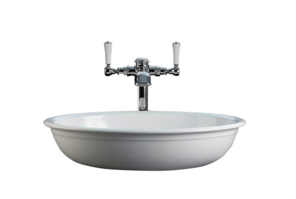 The Victoria + Albert vessel sink made from limestone-rich Englishcast is so very British.