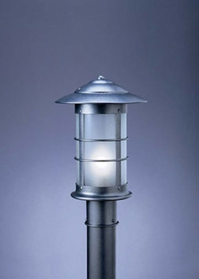 Newport post lantern from Arroyo Craftsman also available for column mount, pendant light, or wall sconce.