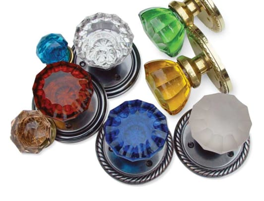 Colorful 1920s–30s glass doorknobs from Van Dyke's Restorers.
