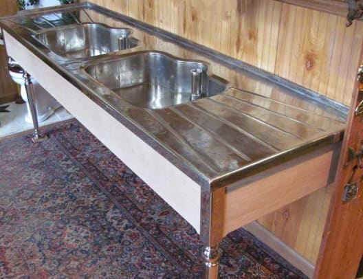 This 1912 German silver sink with original drainboards and legs was recently available from Bathroom Machineries for $14,500.