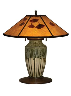 'Venetian Green' vase lamp with mica shade inlaid with ginkgo leaves, by contemporary artist William Morris.