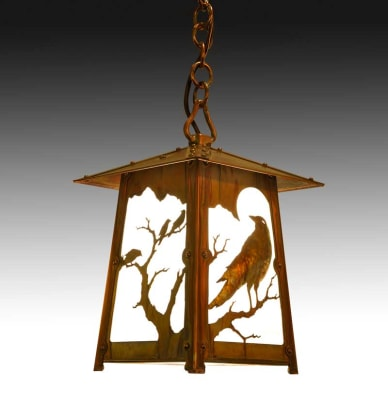 'Raven' filigree for the brass Poplar Glen hanging lantern, Old California Lantern.