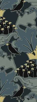 "Trustworth Studios' ""Four and Twenty"" scalable paper in teal, black, and gold, after a Voysey design."