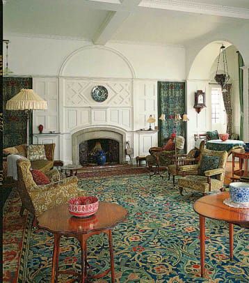 Drawing room, the dining room, and the stair hall at Standen in the south of England.