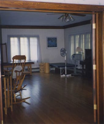The previous owner used the living room for a physical-therapy practice.